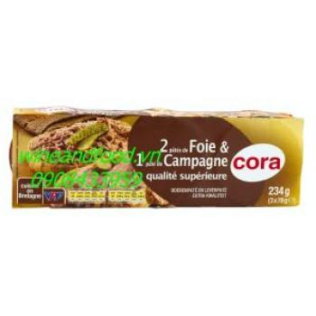 Pate Cora lốc 3 gồm 1 campagne 2 foie