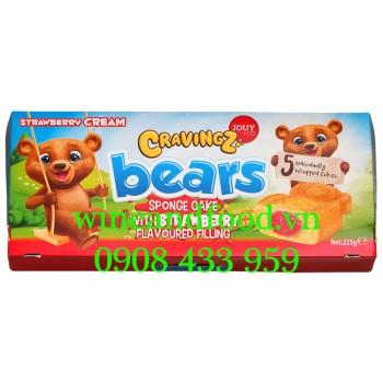 Bánh bông lan Gấu nhân Dâu Cravingz Bears Jouy & Co 225g