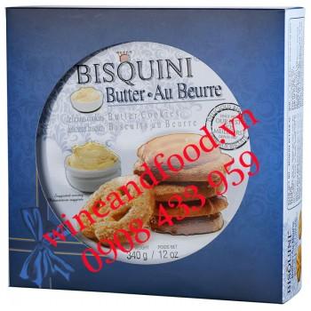 Bánh quy bơ Bisquini Đan Mạch hộp thiếc 340g