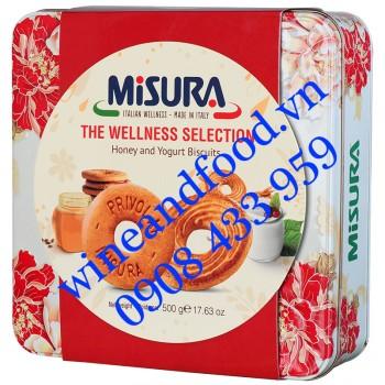 Bánh quy mật ong Yogurt Misura Wellness Selection hộp thiếc 500g