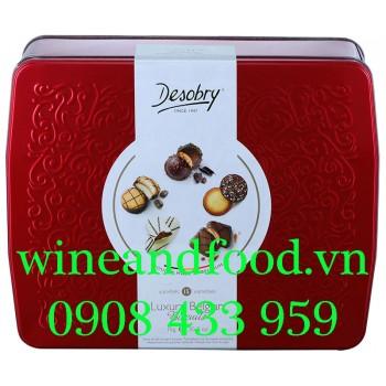 Bánh quy phủ socola Desobry Jewels hộp thiếc 1kg