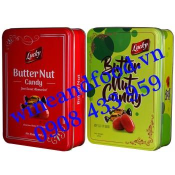 Kẹo bơ Butter Nut Lucky hộp thiếc 250g