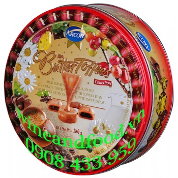 Kẹo Butter Toffees Arcor hộp thiếc 180g