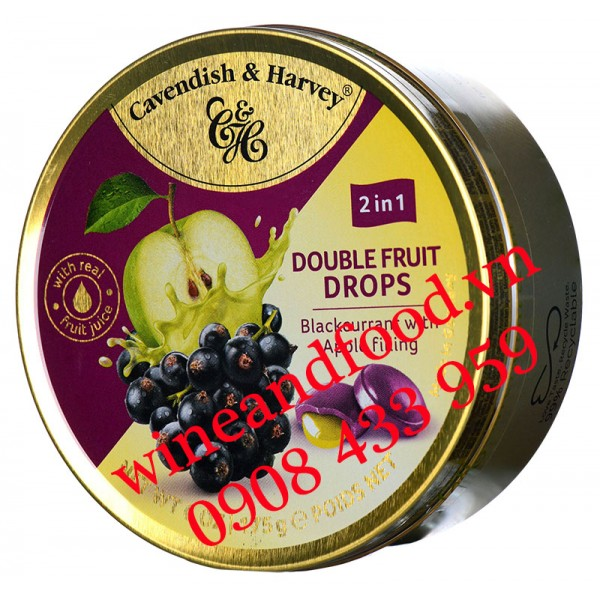 Kẹo Cavendish & Harvey Double Fruit Drop Blackcurrant nhân Táo 175g