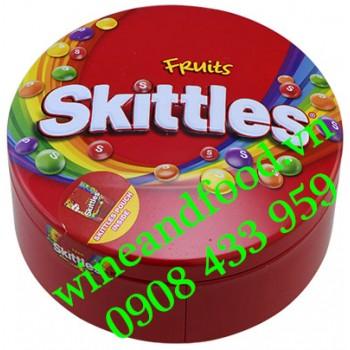Kẹo trái cây Skittles hộp thiếc tròn 195g