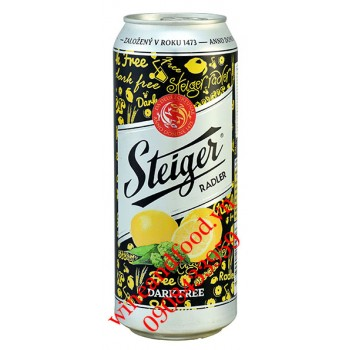 Bia đen không cồn Steiger Radler chanh 500ml