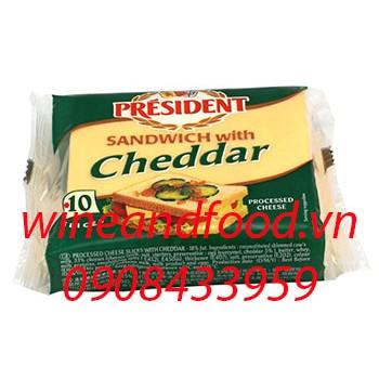 Phô mai President Sandwich with Cheddar 10 miếng