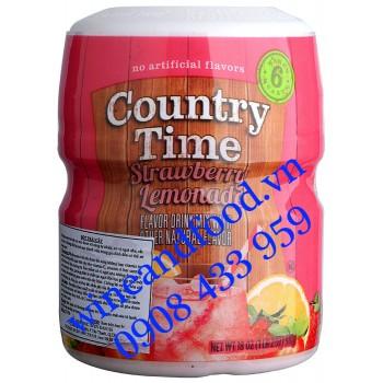 Bột trái cây Country Time Strawberry Lemonade Chanh Dâu 510g
