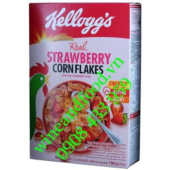 Ngũ cốc Dâu Corn Flakes Kellogg's hộp 180g