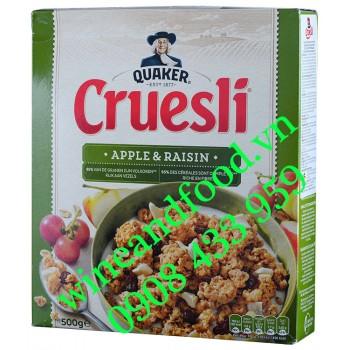 Ngũ cốc Yến Mạch Cruesli Táo Nho Quaker hộp 500g