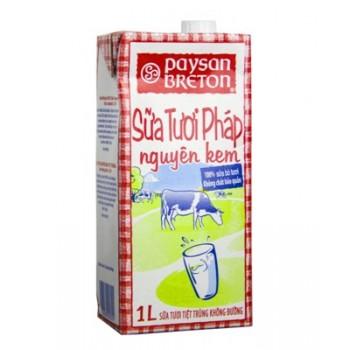Sữa tươi nguyên kem không đường Paysan Breton 1l