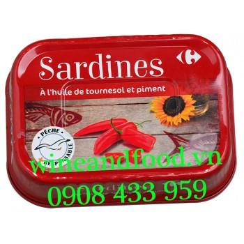 Cá Mòi Sardines dầu Hướng Dương sốt Ớt Carrefour 135g