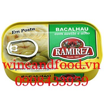 Cá tuyết ngâm dầu oliu tỏi Ramirez 120g