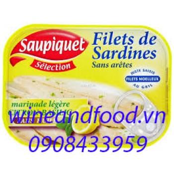 Phi lê cá sardine với chanh và húng quế Saupiquet 100g