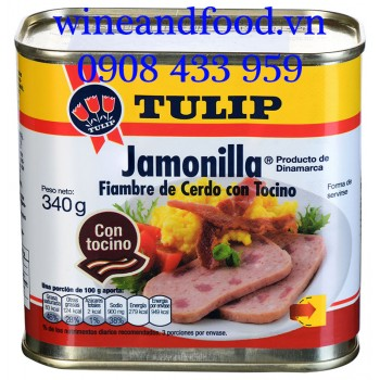 Thịt hộp Tulip pork luncheon meat with bacon 340g