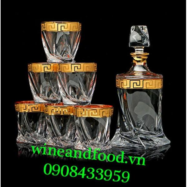 Bộ bình ly Whisky pha lê Quadro Bohemia