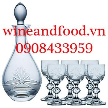 Bộ bình rượu và 6 ly pha lê Bohemia