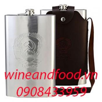 Bình đựng rượu inox dập nổi túi da 1l920