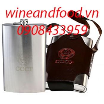 Bình đựng rượu inox kiểu truyền thống túi da 1l920
