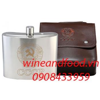 Bình đựng rượu inox túi da 2L640