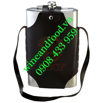 Bình rượu Inox Hip Flask CCCP túi da 1l89