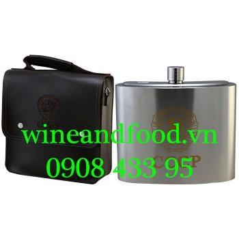 Bình rượu inox Hip Flask CCCP túi da 2l6