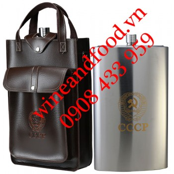 Bình rượu Inox Hip Flask CCCP túi da 5l26