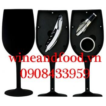 Bộ dụng cụ rượu vang hình ly rượu đen 3 món