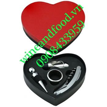 Bộ dụng cụ rượu vang trái tim 4 món