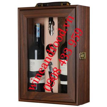 Hộp đựng rượu vang gỗ cửa kính 2 chai cao cấp