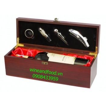 Hộp rượu vang gỗ đơn 01