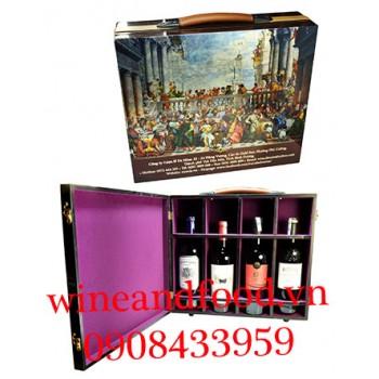 Hộp rượu vang sơn mài 4 chai 01