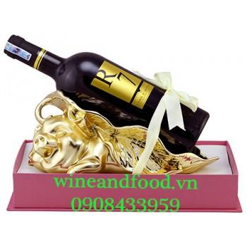 Kệ rượu con Heo mạ vàng