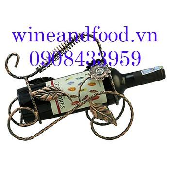 Kệ rượu vang 1 chai màu đồng