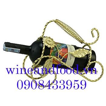 Kệ rượu vang 1 chai màu vàng