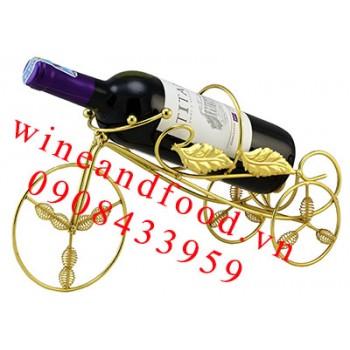 Kệ rượu vang xe đạp màu vàng 1 chai