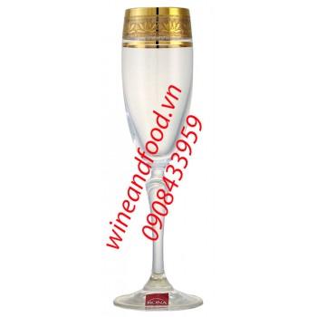 Ly rượu Champagne pha lê mạ vàng Rona