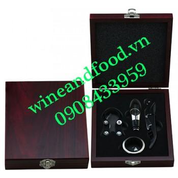 Bộ khui rượu vang hộp gỗ 4 món