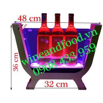Xô đá ngâm ướp rượu đèn Led khung kim loại cao cấp