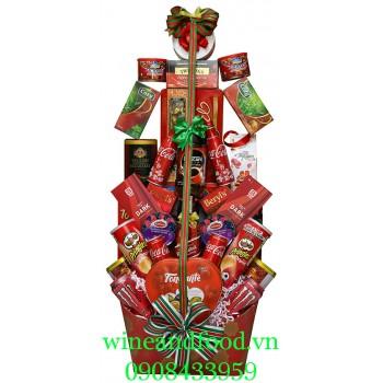 Giỏ quà cây thông Noel Đỏ 03