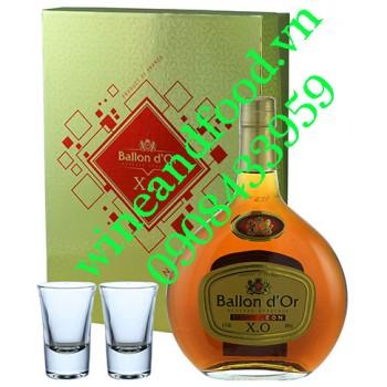 Rượu Brandy XO Ballon D'or hộp quà 2 ly