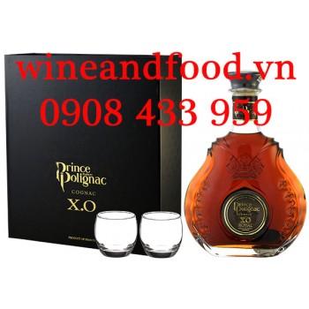 Rượu Cognac XO Prince Hubert de Polignac 700ml hộp quà 2 ly