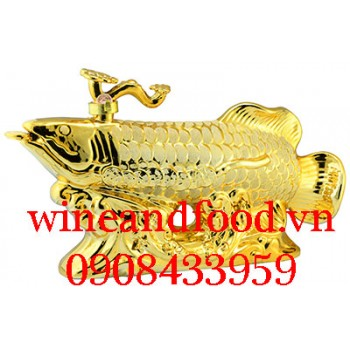Rượu con Cá Rồng mạ vàng Bourbon Whiskey 250cl Pháp