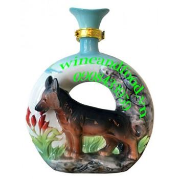 Rượu con chó Nga bằng sứ 500ml