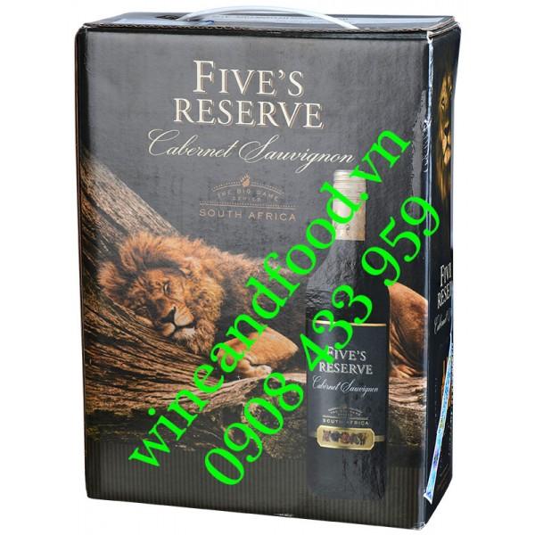 Rượu vang Five's Reserve Cabernet Sauvignon bịch 3 Lít