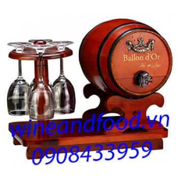 Rượu vang Ballon d'Or kệ ly trống gổ 3l
