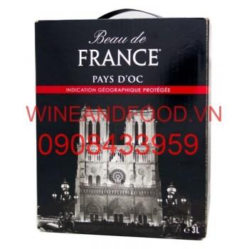 Rượu vang đỏ bịch Beau de France 3l