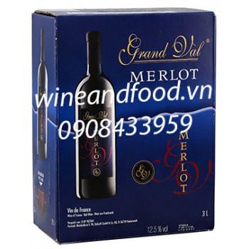 Rượu vang Grand Val Merlot 3l