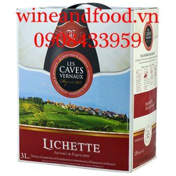 Rượu vang Lichette Les Caves Vernaux bịch 3L