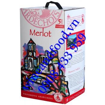 Rượu vang Vignerons Ardechois Merlot 5l